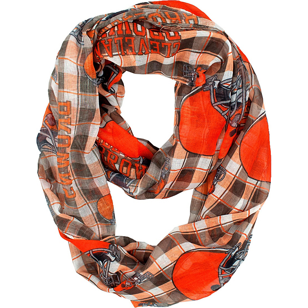 Littlearth Sheer Infinity Scarf Plaid - NFL Teams Cleveland Browns - Littlearth Hats/Gloves/Scarves - Fashion Accessories, Hats/Gloves/Scarves