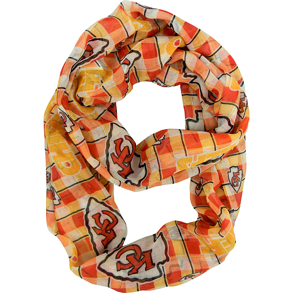 Littlearth Sheer Infinity Scarf Plaid - NFL Teams Kansas City Chiefs - Littlearth Hats/Gloves/Scarves - Fashion Accessories, Hats/Gloves/Scarves