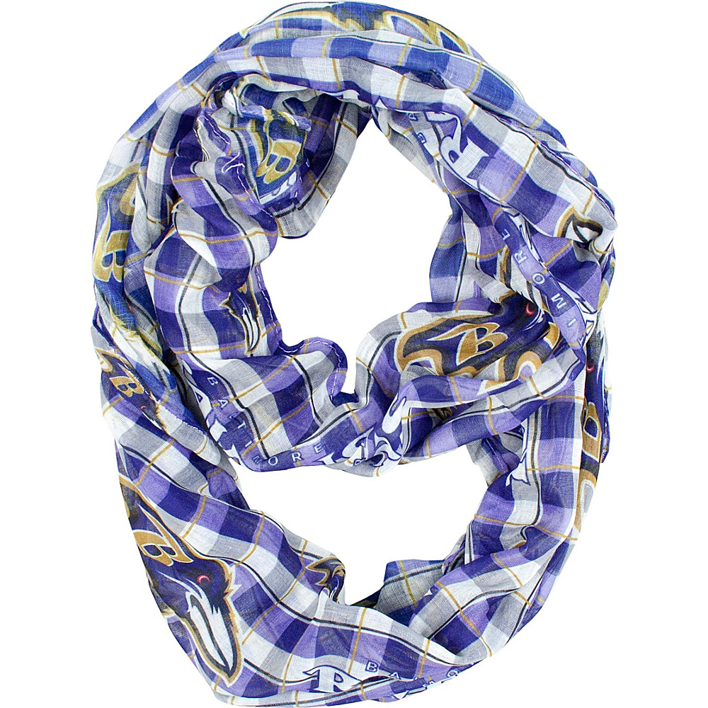 Littlearth Sheer Infinity Scarf Plaid - NFL Teams Baltimore Ravens - Littlearth Hats/Gloves/Scarves - Fashion Accessories, Hats/Gloves/Scarves