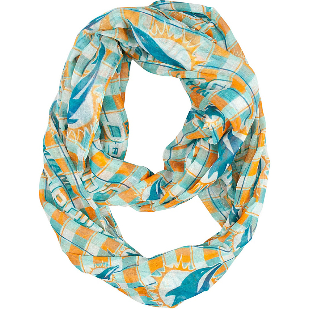 Littlearth Sheer Infinity Scarf Plaid - NFL Teams Miami Dolphins - Littlearth Hats/Gloves/Scarves - Fashion Accessories, Hats/Gloves/Scarves