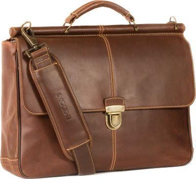Boconi Bryant Dowel Rod Brief Antique Mahogany with Houndstooth - Boconi Non-Wheeled Business Cases