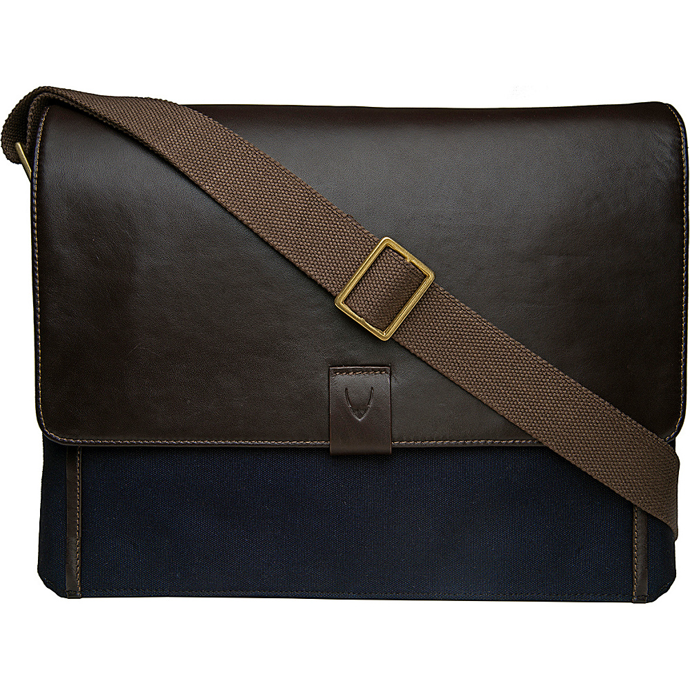 Hidesign Aiden Canvas Leather Laptop Messenger Blue Hidesign Messenger Bags