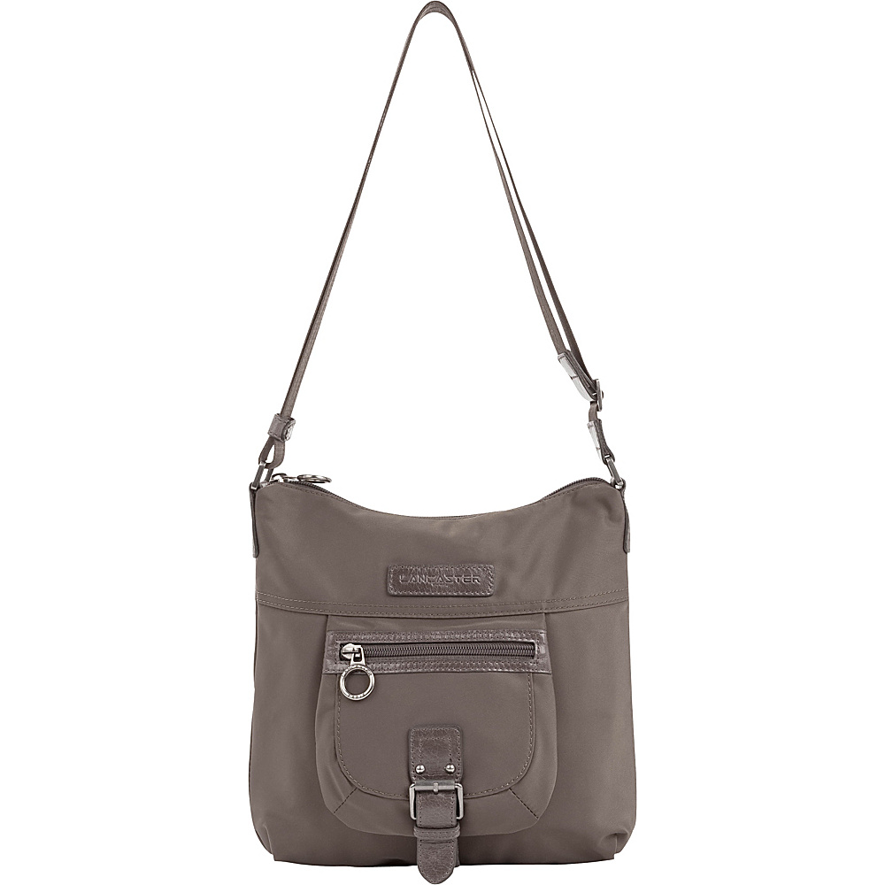 Lancaster Paris Nylon Leather Traveler Taupe Lancaster Paris Fabric Handbags