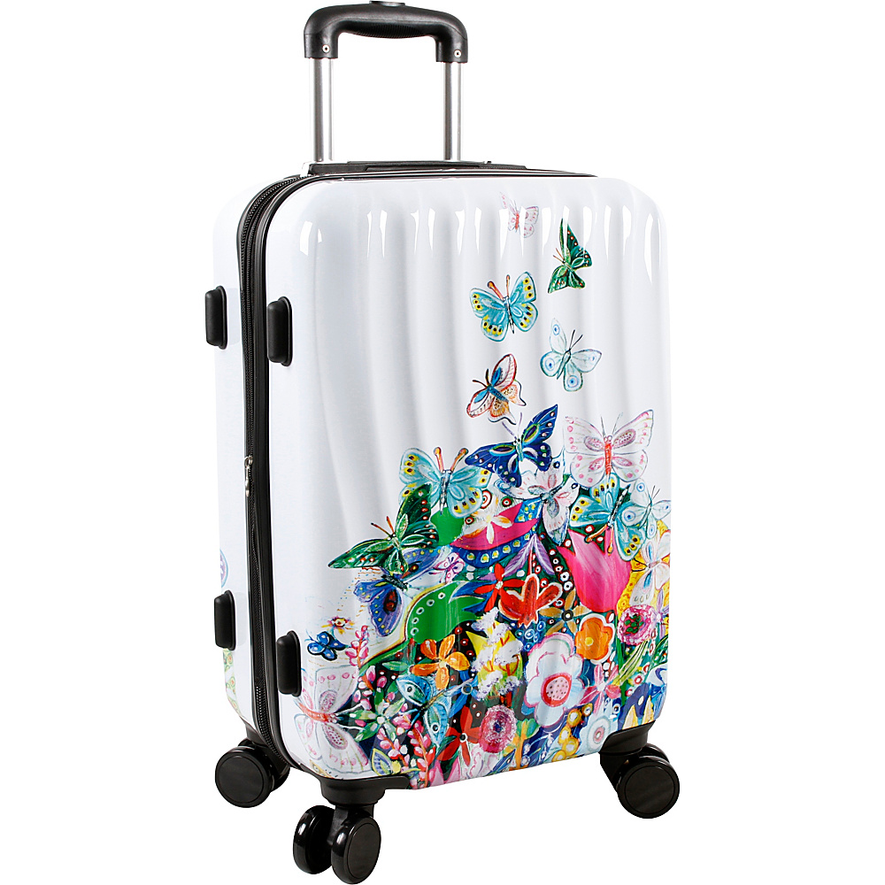 J World New York Art Butterfly Carry-on Luggage White - J World New York Hardside Carry-On - Luggage, Hardside Carry-On