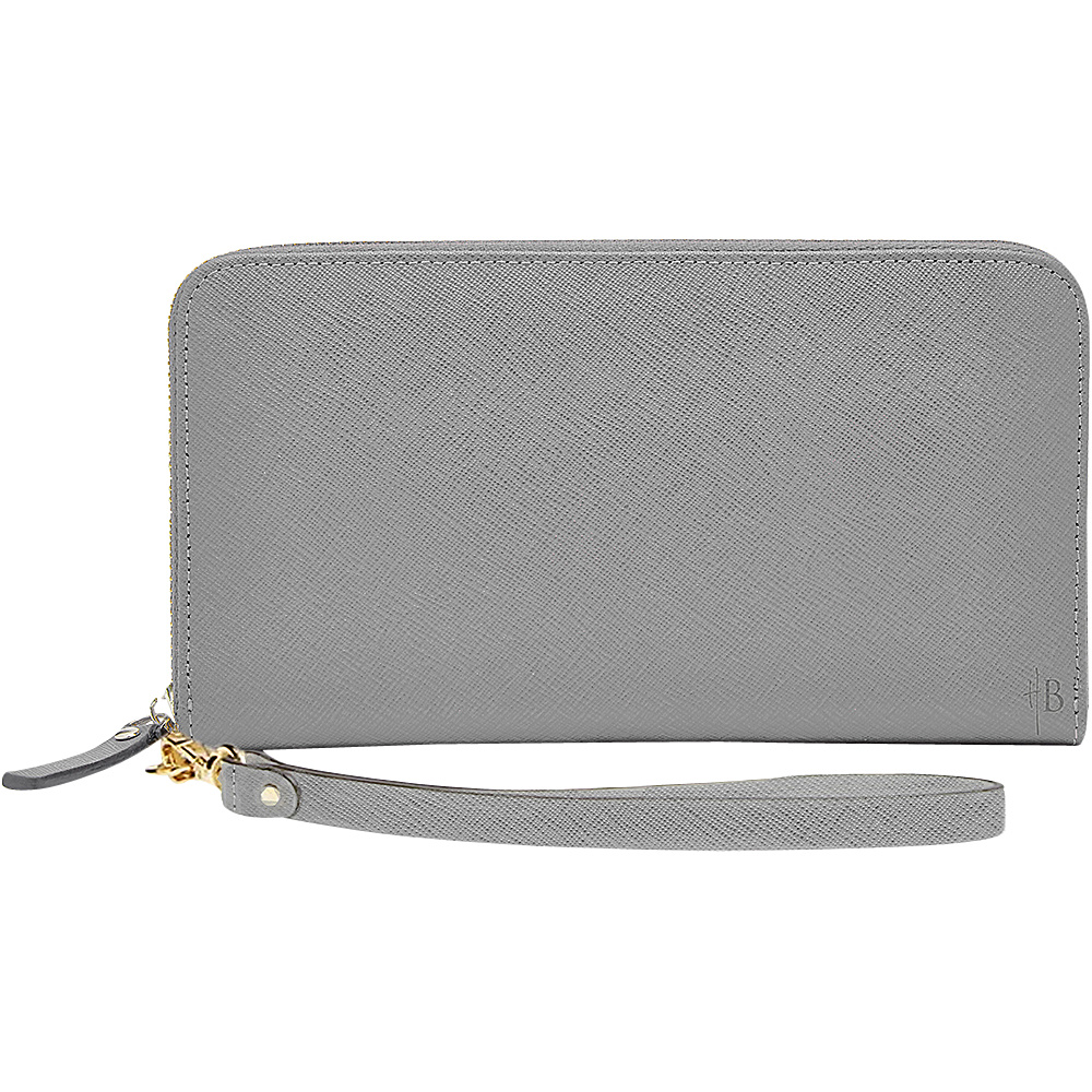 HButler The Mighty Purse Phone Charging Zipper Wallet Grey HButler Women s Wallets