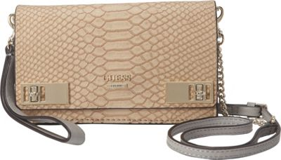 GUESS Milo Petite Crossbody Clutch Camel - GUESS Manmade Handbags
