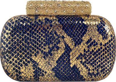 JNB Metallic Python Print Box Clutch Royal Blue - JNB Evening Bags