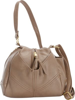 Victoria Leather Droplet Crossbody Taupe - Victoria Leather Leather Handbags