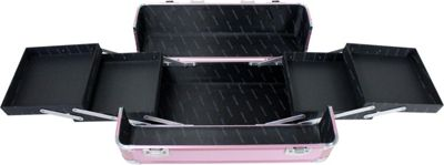 Jacki Design Carrying Makeup Salon Train Case with Adjustable Dividers Hot Pink - Jacki Design Toiletry Kits