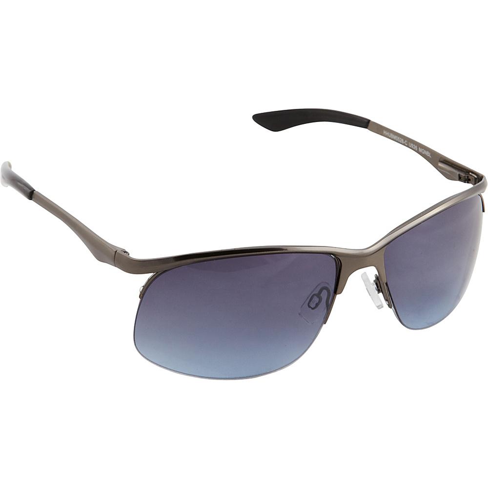 Unionbay Eyewear Metal Oval Sunglasses Matte Gun Blue Unionbay Eyewear Sunglasses