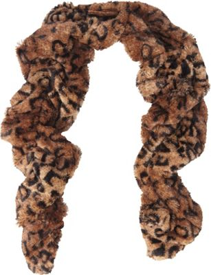 Jessica McClintock Scarves Leopard Print Faux Fur Neck Warmer Brown/Leopard - Jessica McClintock Scarves Hats/Gloves/Scarves