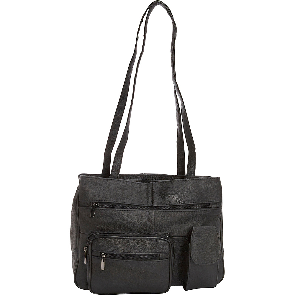 R R Collections Leather Tote with Zip Around Pocket Black R R Collections Leather Handbags