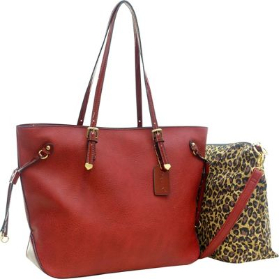 Dasein 2-in-1 Patent Faux Leather Trim Tote Red - Dasein Manmade Handbags