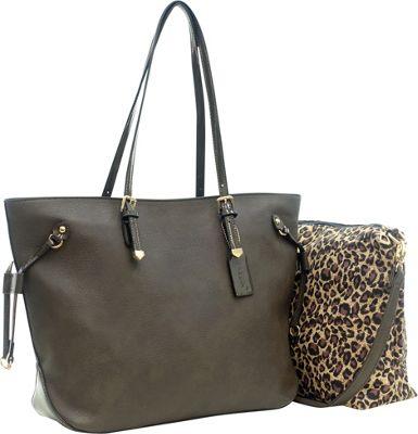 Dasein 2-in-1 Patent Faux Leather Trim Tote Grey - Dasein Manmade Handbags