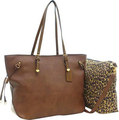 Dasein 2-in-1 Patent Faux Leather Trim Tote Coffee - Dasein Manmade Handbags