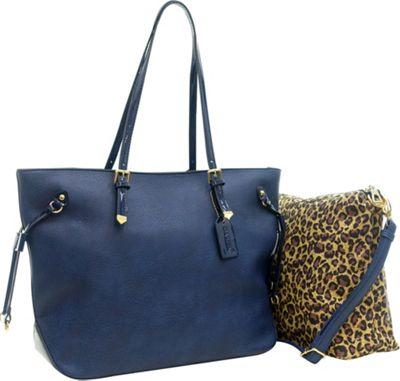 Dasein 2-in-1 Patent Faux Leather Trim Tote Blue - Dasein Manmade Handbags