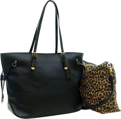 Dasein 2-in-1 Patent Faux Leather Trim Tote Black - Dasein Manmade Handbags