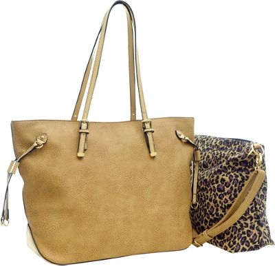 Dasein 2-in-1 Patent Faux Leather Trim Tote Beige - Dasein Manmade Handbags