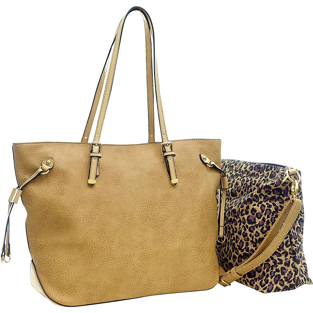 Dasein 2 in 1 Patent Faux Leather Trim Tote Beige Dasein Manmade Handbags