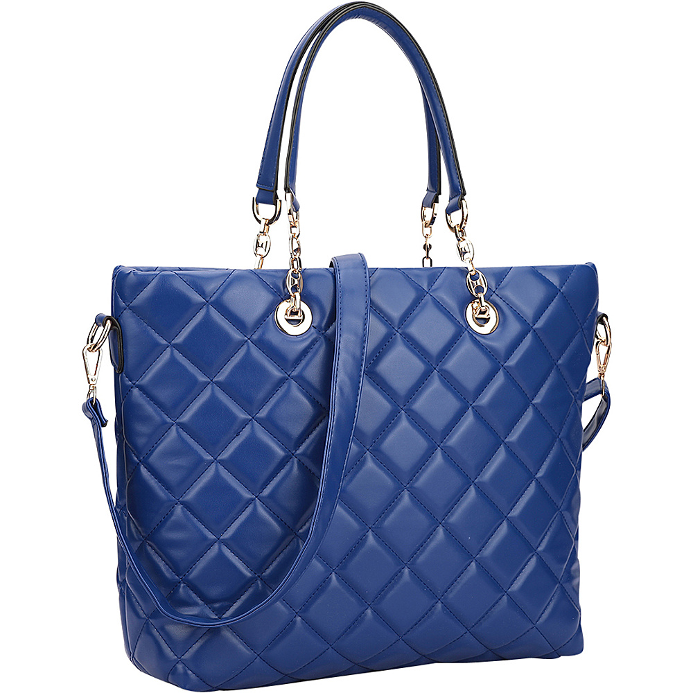 Dasein Quilted Tote with Chain Handles Blue - Dasein Manmade Handbags - Handbags, Manmade Handbags