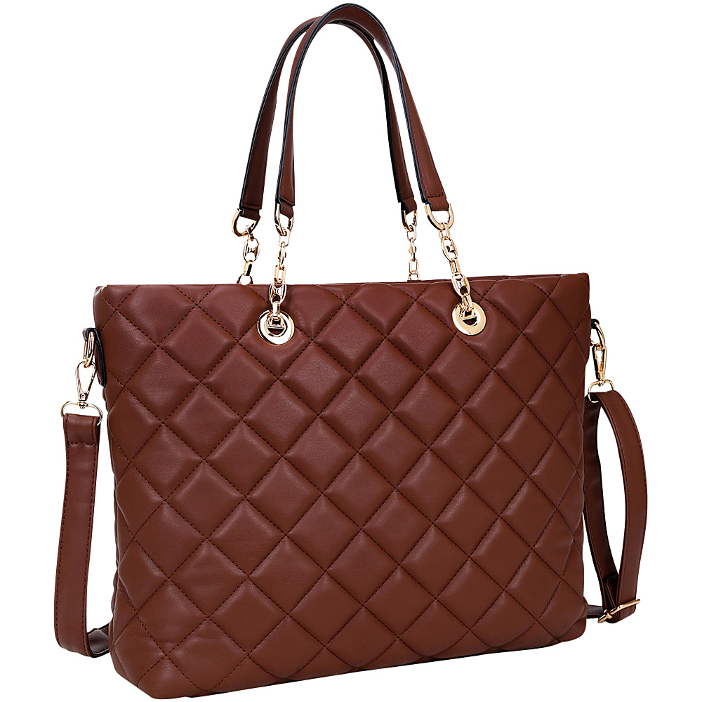 Dasein Quilted Tote with Chain Handles Coffee - Dasein Manmade Handbags - Handbags, Manmade Handbags