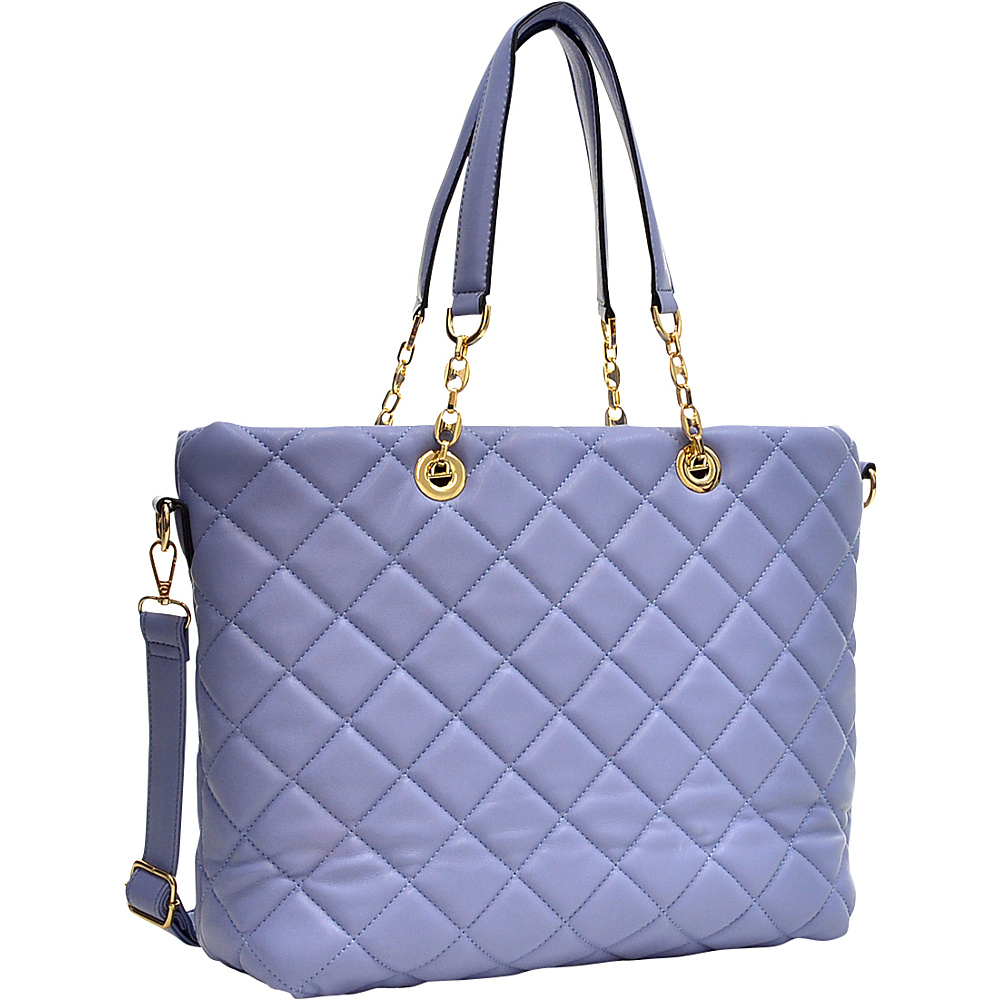 Dasein Quilted Tote with Chain Handles Lavender - Dasein Manmade Handbags - Handbags, Manmade Handbags