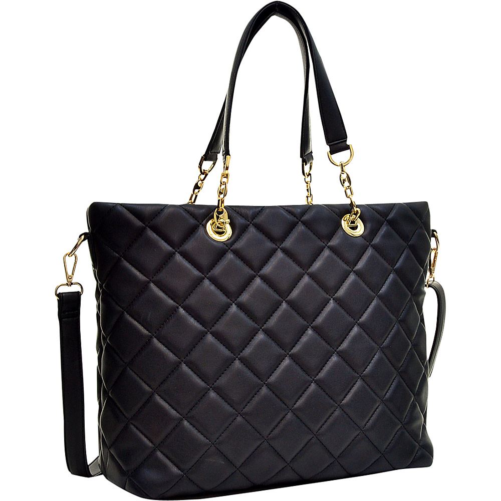 Dasein Quilted Tote with Chain Handles Black - Dasein Manmade Handbags - Handbags, Manmade Handbags