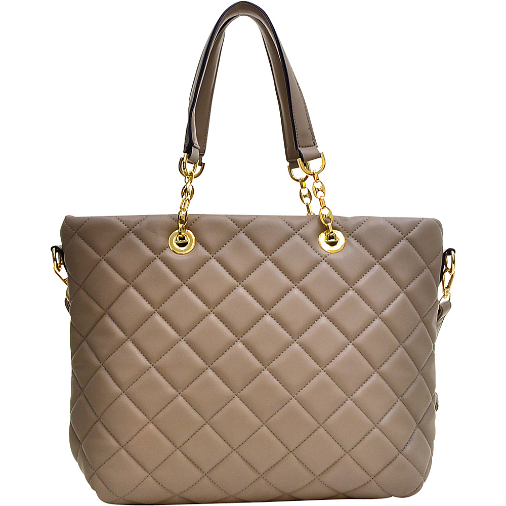 Dasein Quilted Tote with Chain Handles Taupe - Dasein Manmade Handbags - Handbags, Manmade Handbags