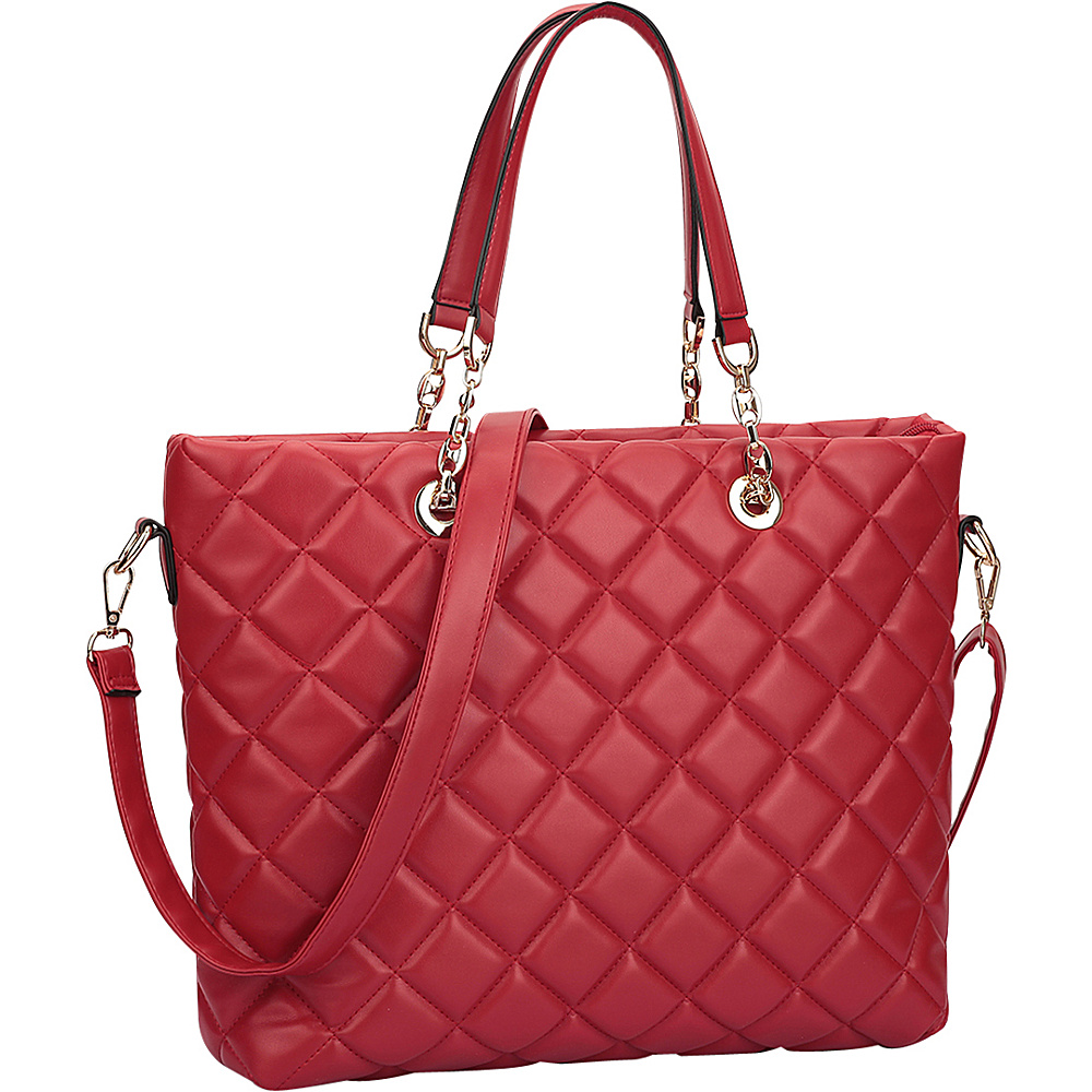 Dasein Quilted Tote with Chain Handles Red - Dasein Manmade Handbags - Handbags, Manmade Handbags