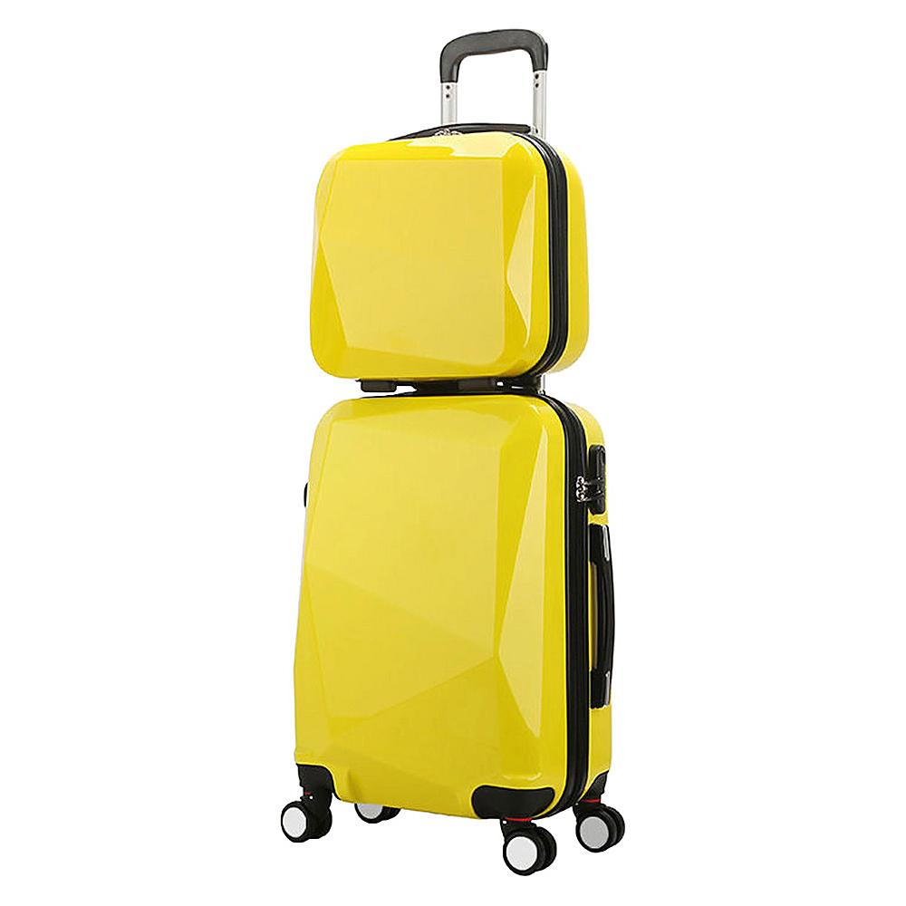 World Traveler Diamond 2 Piece Carry on Spinner Luggage Set Yellow World Traveler Luggage Sets