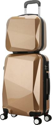 World Traveler Diamond 2-Piece Carry-on Spinner Luggage Set CHAMPAGNE - World Traveler Luggage Sets