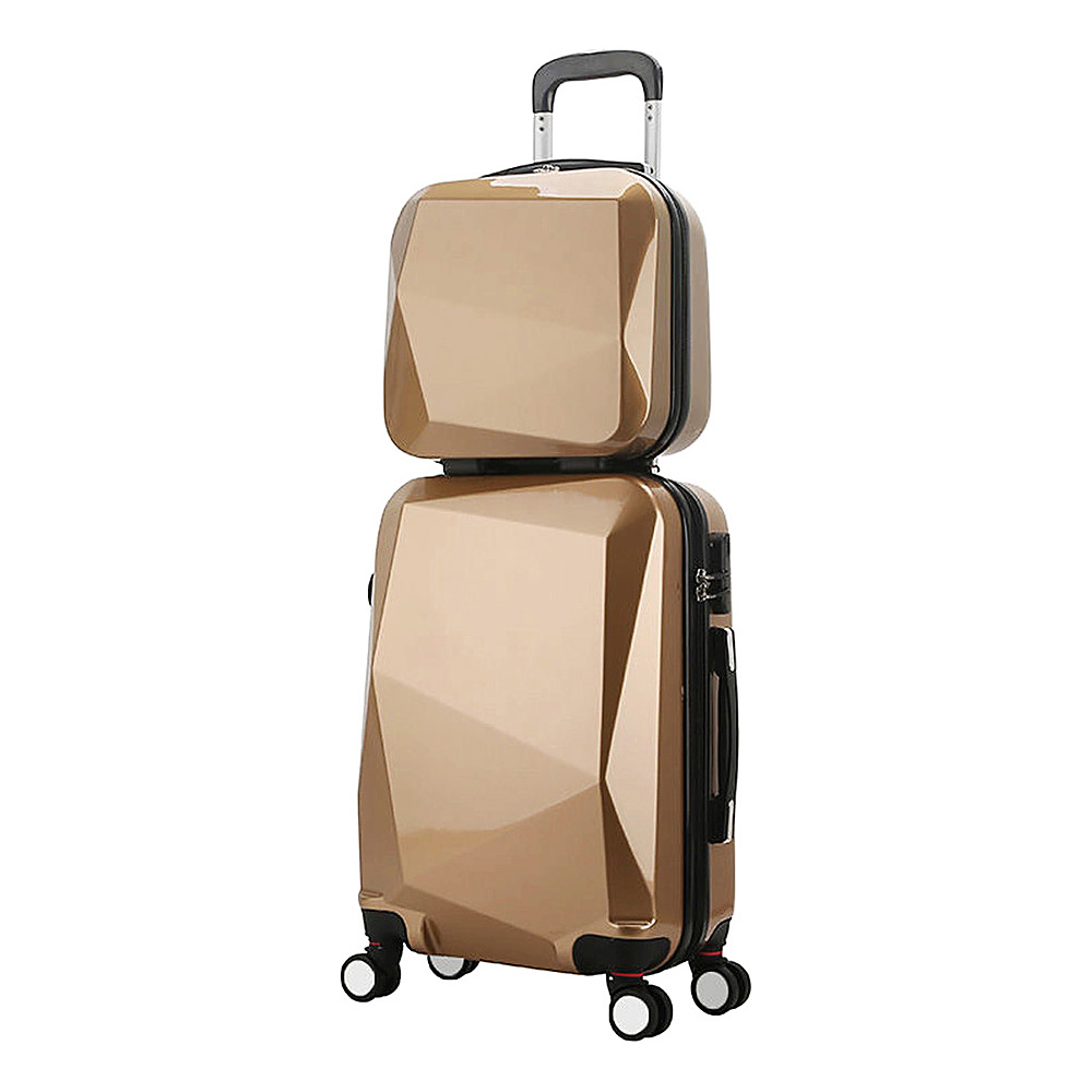 World Traveler Diamond 2-Piece Carry-on Spinner Luggage Set CHAMPAGNE - World Traveler Luggage Sets - Luggage, Luggage Sets