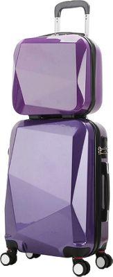 World Traveler Diamond 2-Piece Carry-on Spinner Luggage Set PURPLE - World Traveler Luggage Sets