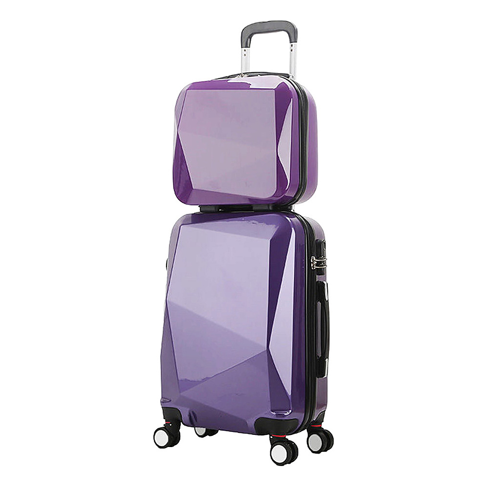 World Traveler Diamond 2-Piece Carry-on Spinner Luggage Set PURPLE - World Traveler Luggage Sets - Luggage, Luggage Sets