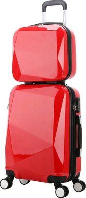World Traveler Diamond 2-Piece Carry-on Spinner Luggage Set Red - World Traveler Luggage Sets