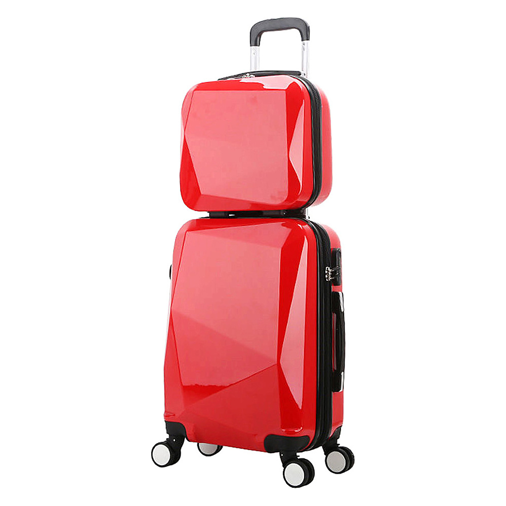 World Traveler Diamond 2 Piece Carry on Spinner Luggage Set Red World Traveler Luggage Sets