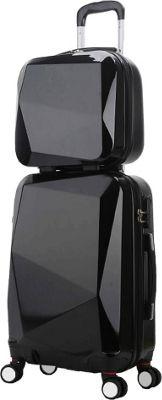 World Traveler Diamond 2-Piece Carry-on Spinner Luggage Set Black - World Traveler Luggage Sets