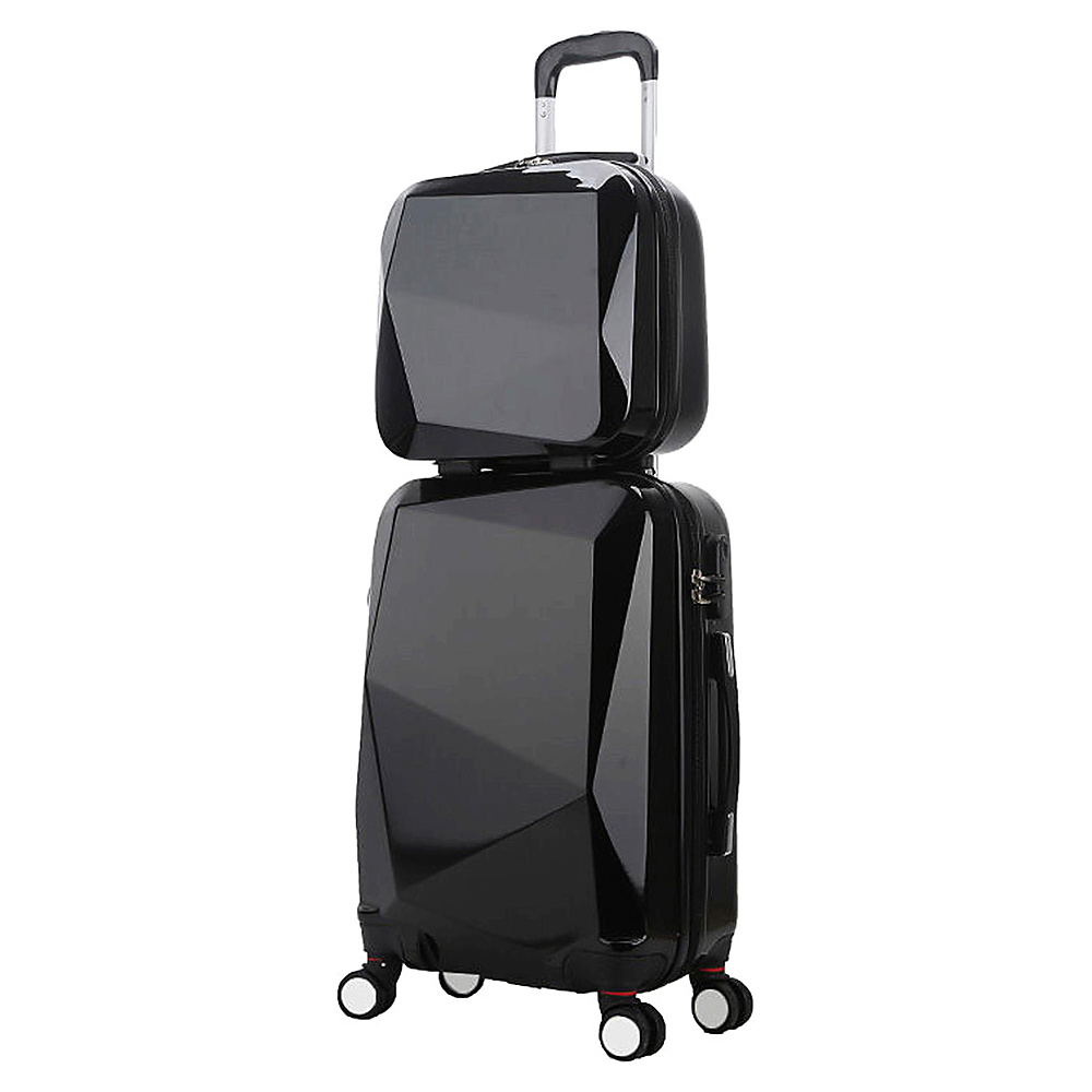 World Traveler Diamond 2 Piece Carry on Spinner Luggage Set Black World Traveler Luggage Sets