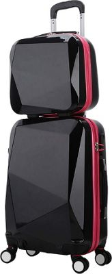 World Traveler Diamond 2-Piece Carry-on Spinner Luggage Set BlackPink - World Traveler Luggage Sets