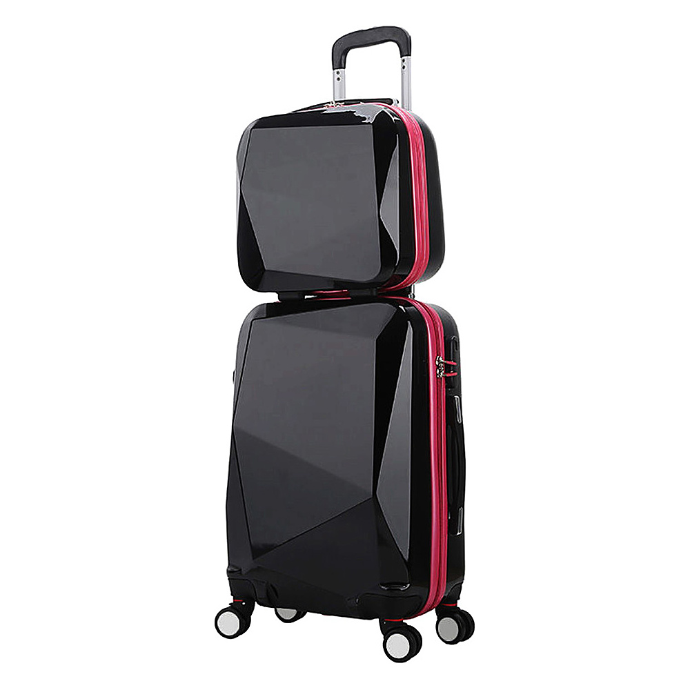 World Traveler Diamond 2 Piece Carry on Spinner Luggage Set BlackPink World Traveler Luggage Sets