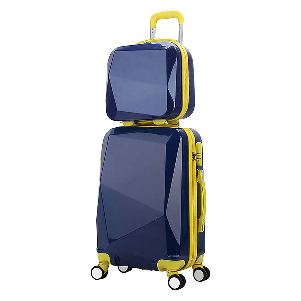 World Traveler Diamond 2 Piece Carry on Spinner Luggage Set Blue World Traveler Luggage Sets
