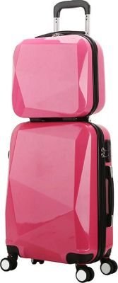 World Traveler Diamond 2-Piece Carry-on Spinner Luggage Set Pink - World Traveler Luggage Sets
