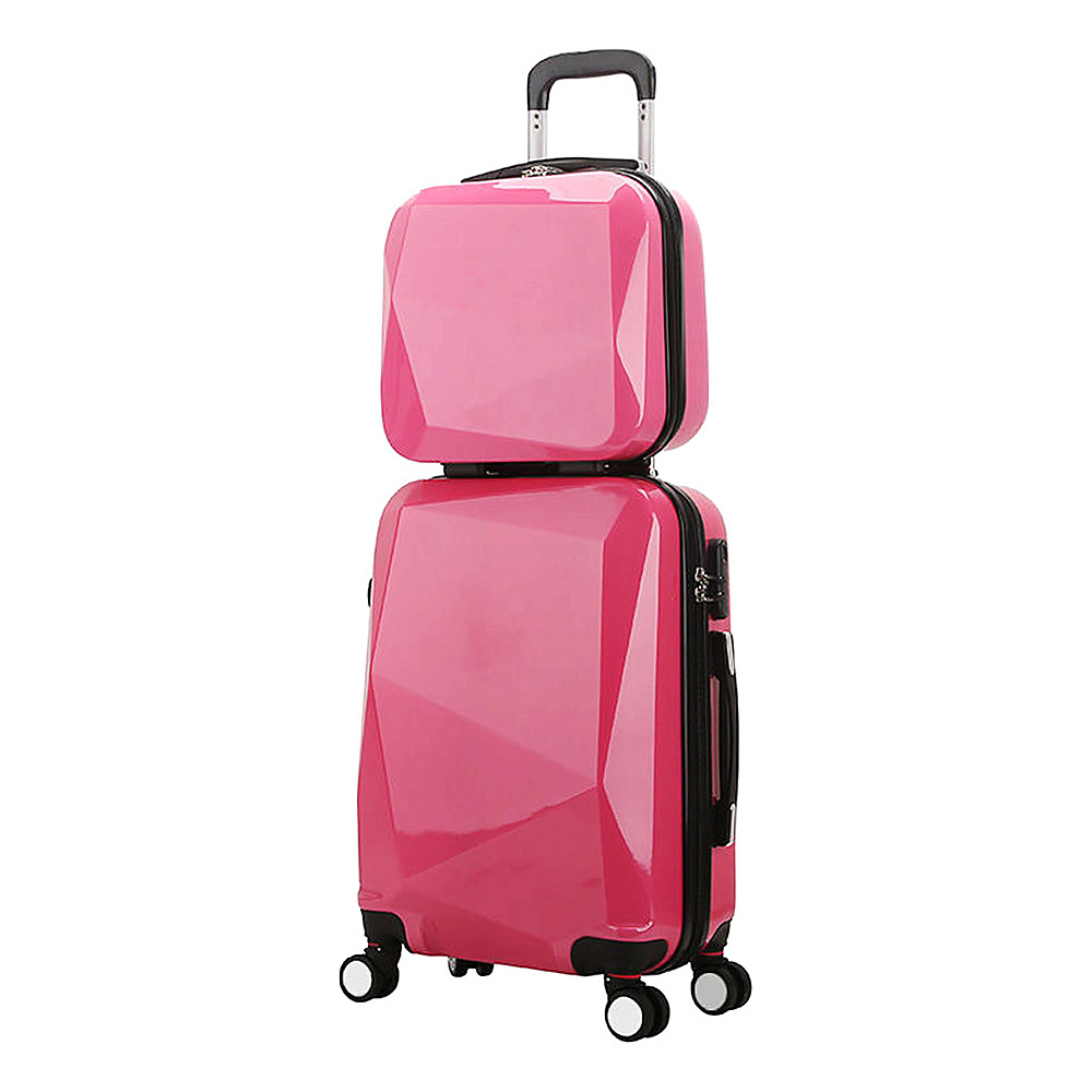 World Traveler Diamond 2 Piece Carry on Spinner Luggage Set Pink World Traveler Luggage Sets