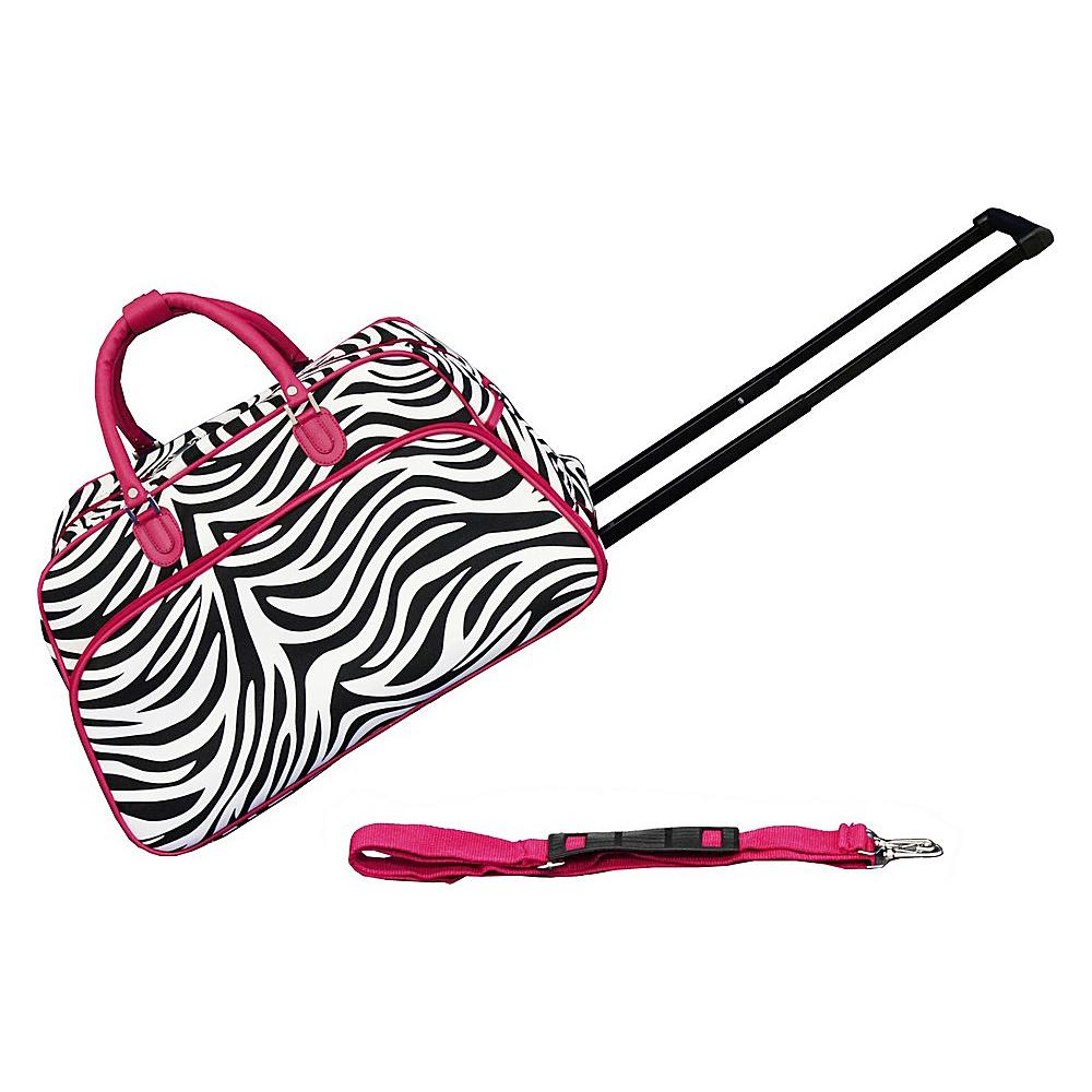 World Traveler Zebra 21 Rolling Duffel Bag Pink Trim Zebra - World Traveler Rolling Duffels - Luggage, Rolling Duffels