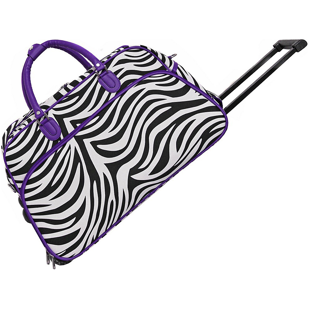 World Traveler Zebra 21 Rolling Duffel Bag Dark Purple Trim Zebra - World Traveler Rolling Duffels - Luggage, Rolling Duffels