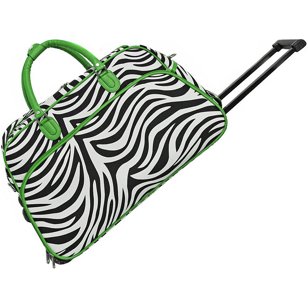 World Traveler Zebra 21 Rolling Duffel Bag Green Trim Zebra - World Traveler Rolling Duffels - Luggage, Rolling Duffels