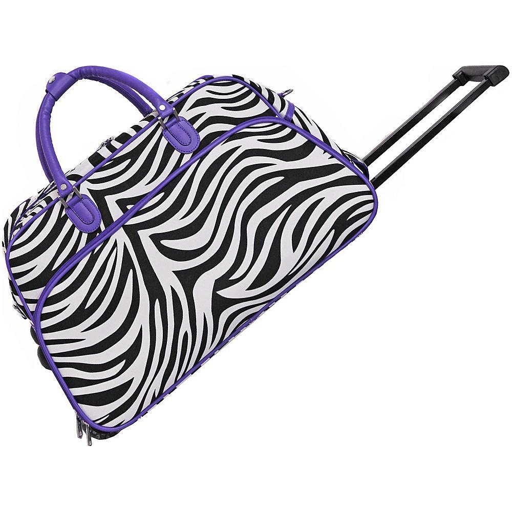 World Traveler Zebra 21 Rolling Duffel Bag Light Purple Trim Zebra - World Traveler Rolling Duffels - Luggage, Rolling Duffels