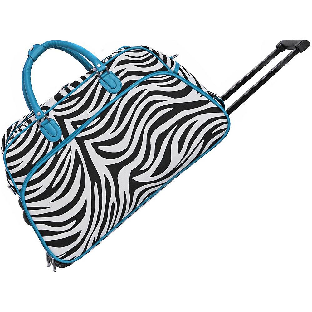World Traveler Zebra 21 Rolling Duffel Bag Blue Trim Zebra - World Traveler Rolling Duffels - Luggage, Rolling Duffels