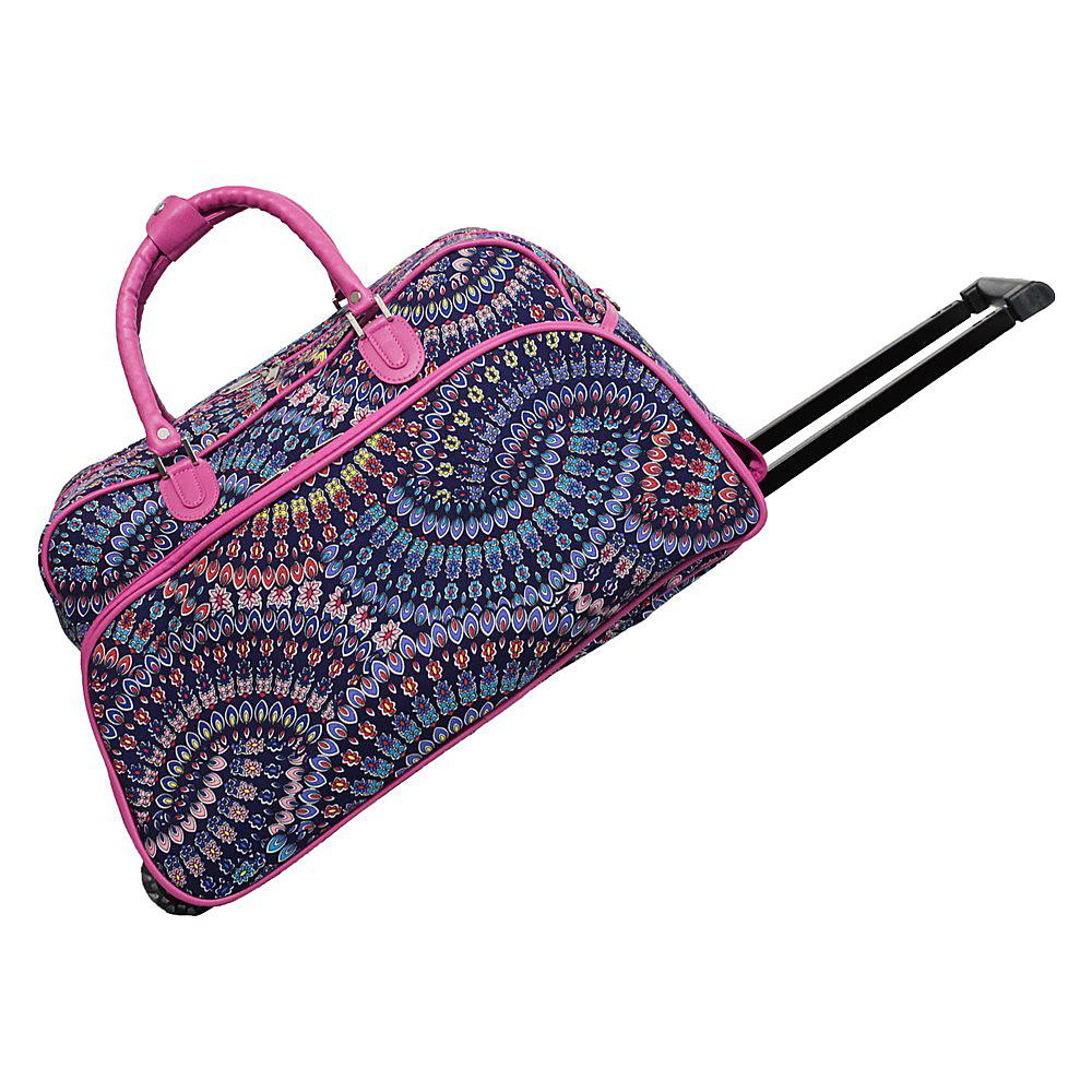 World Traveler Spiral Flower 21 Rolling Duffel Bag Pink Trim Spiral Flower - World Traveler Rolling Duffels - Luggage, Rolling Duffels