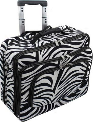 """World Traveler Zebra Rolling 17"""""""" Laptop Case Black Trim Zebra - World Traveler Non-Wheeled Business Cases"""" 10395246"""